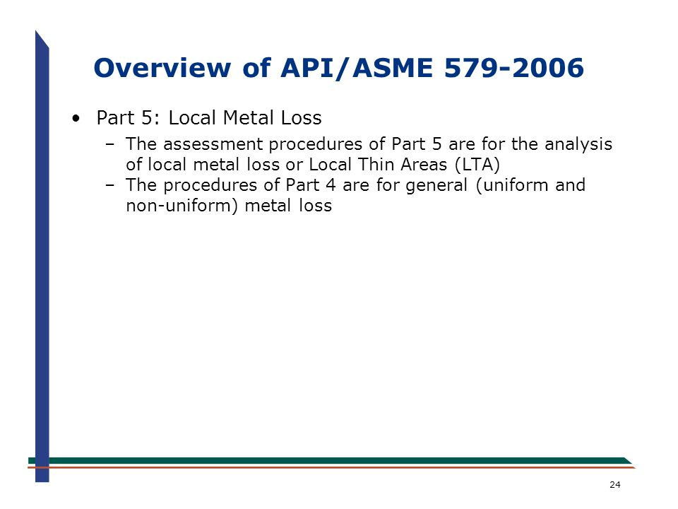 Overview of API/ASME 579-2006 Part 5: Local Metal Loss