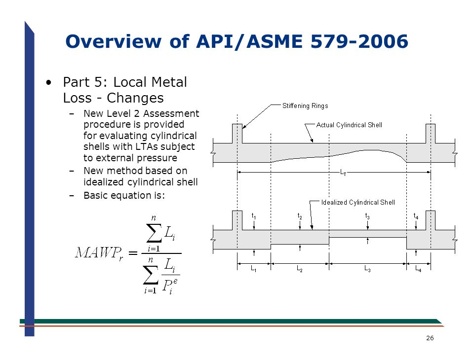 Overview of API/ASME 579-2006 Part 5: Local Metal Loss - Changes