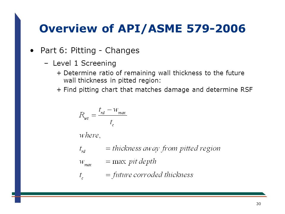 Overview of API/ASME 579-2006 Part 6: Pitting - Changes