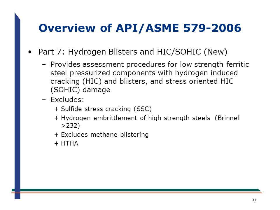 Overview of API/ASME 579-2006 Part 7: Hydrogen Blisters and HIC/SOHIC (New)