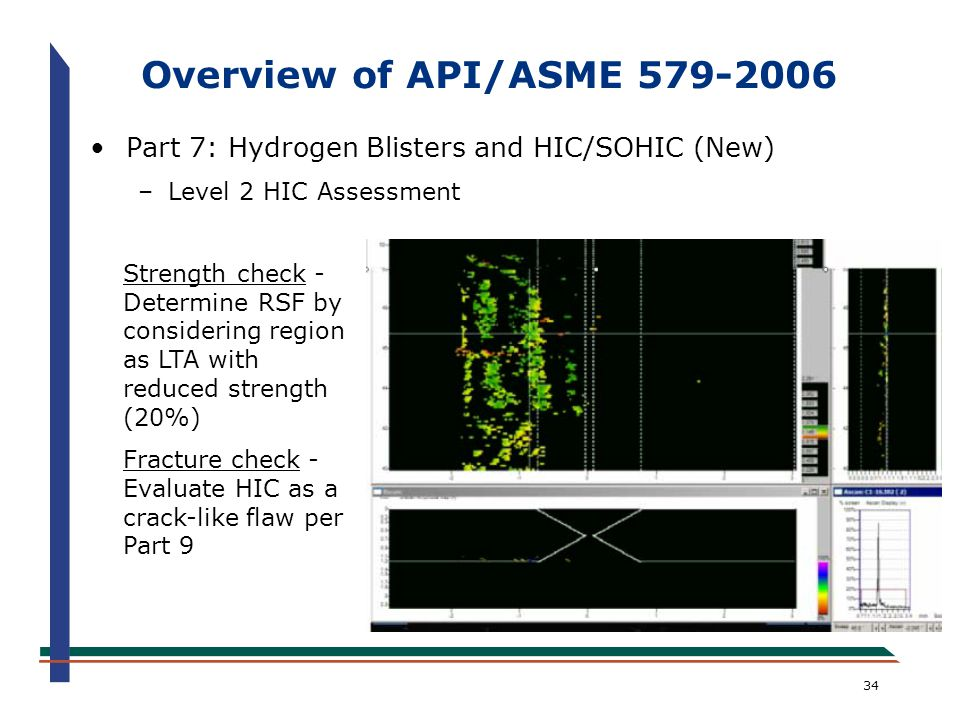 Overview of API/ASME 579-2006 Part 7: Hydrogen Blisters and HIC/SOHIC (New) Level 2 HIC Assessment.