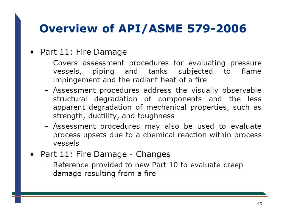 Overview of API/ASME 579-2006 Part 11: Fire Damage