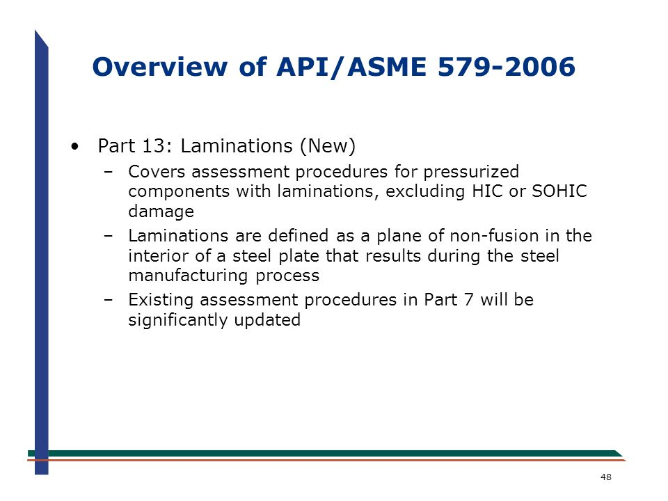 Overview of API/ASME 579-2006 Part 13: Laminations (New)