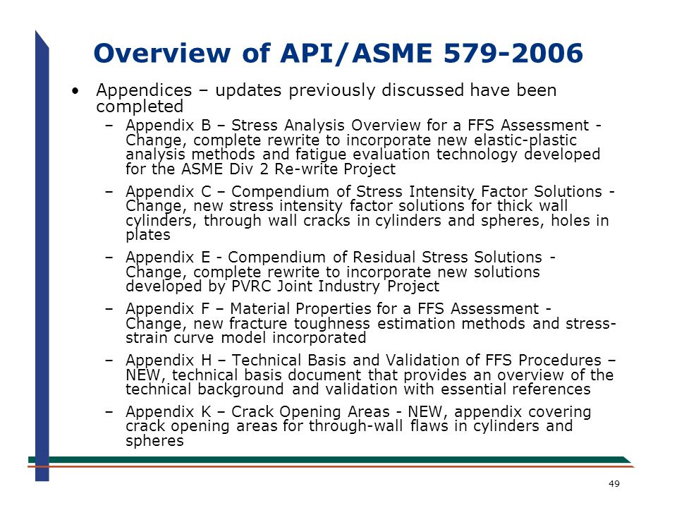 Overview of API/ASME 579-2006 Appendices – updates previously discussed have been completed.