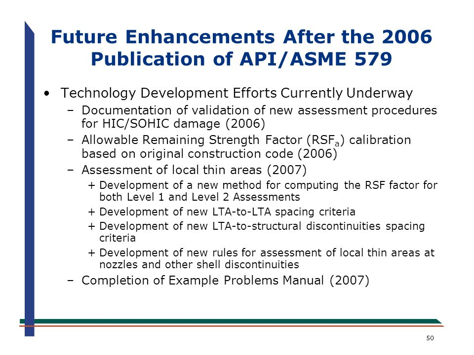 Future Enhancements After the 2006 Publication of API/ASME 579
