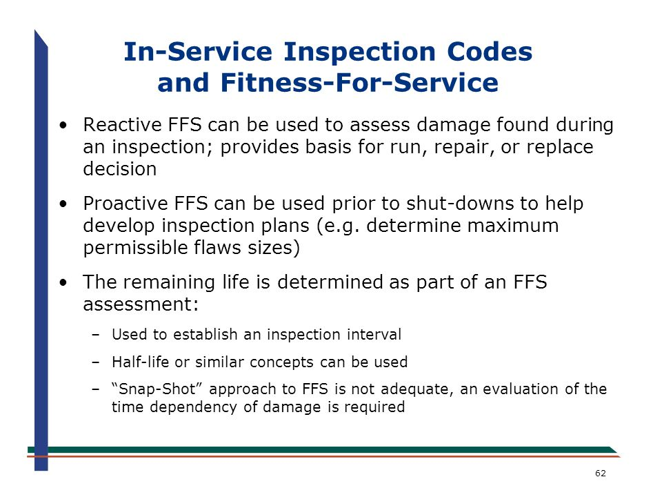 In-Service Inspection Codes and Fitness-For-Service