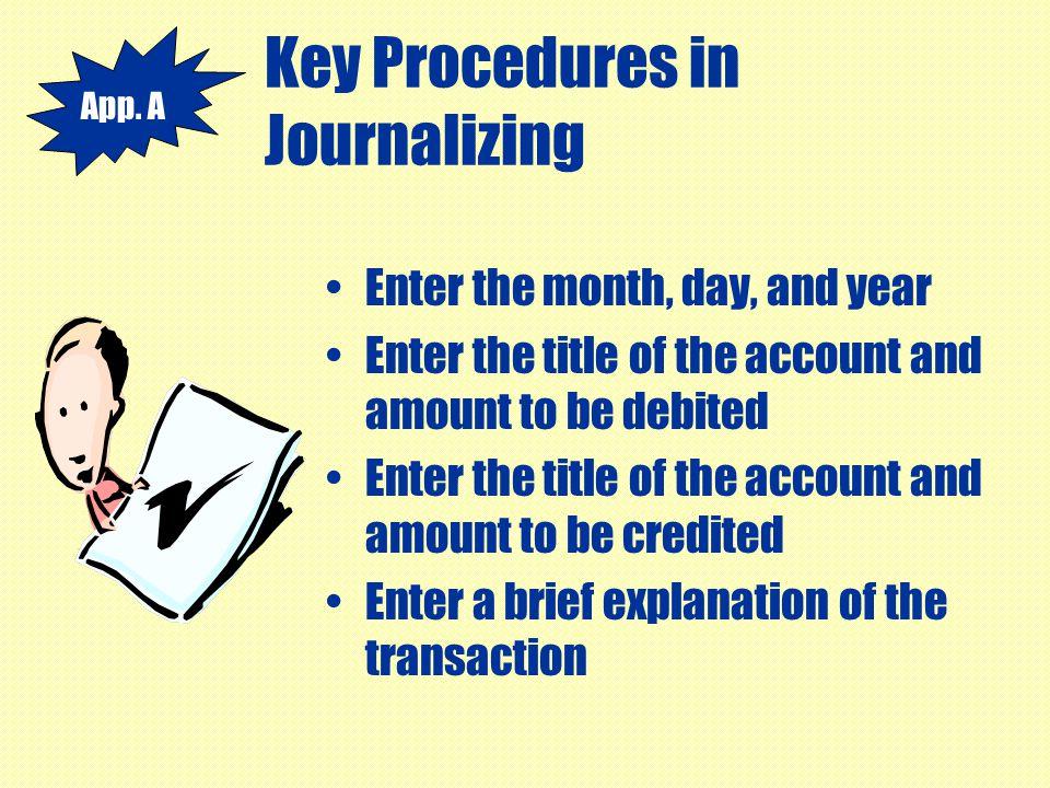 Key Procedures in Journalizing