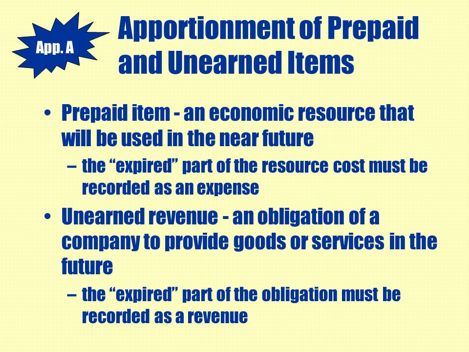 Apportionment of Prepaid and Unearned Items