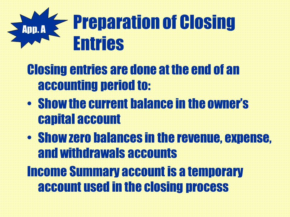 Preparation of Closing Entries