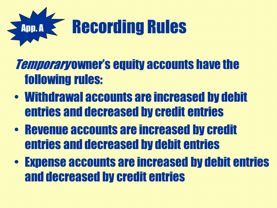 Recording Rules App. A. Temporary owner's equity accounts have the following rules: