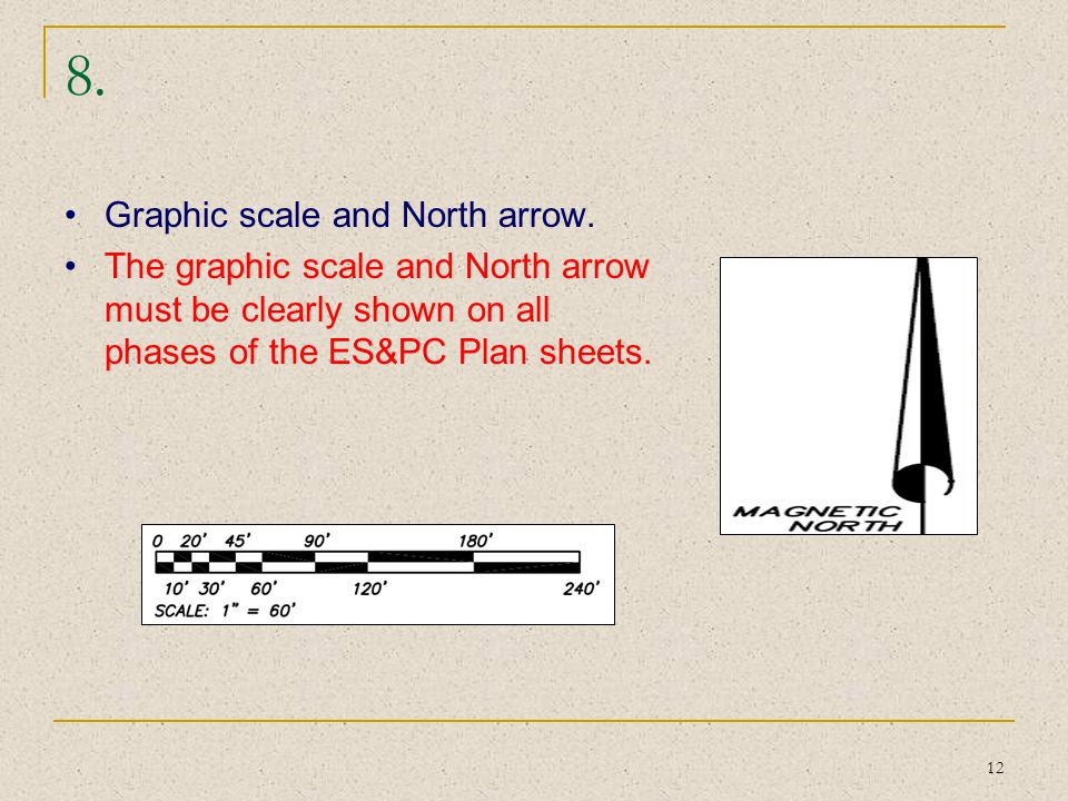 8. Graphic scale and North arrow.