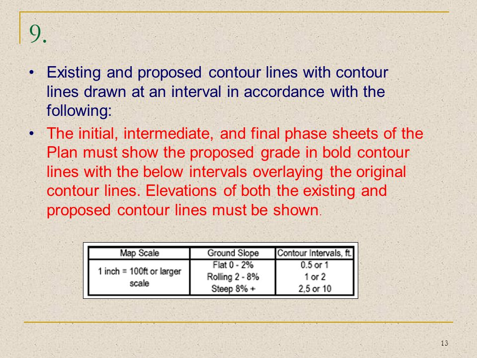 9. Existing and proposed contour lines with contour lines drawn at an interval in accordance with the following: