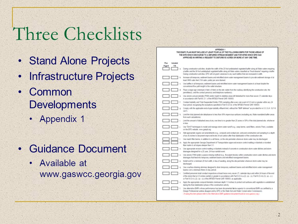 Three Checklists Stand Alone Projects Infrastructure Projects