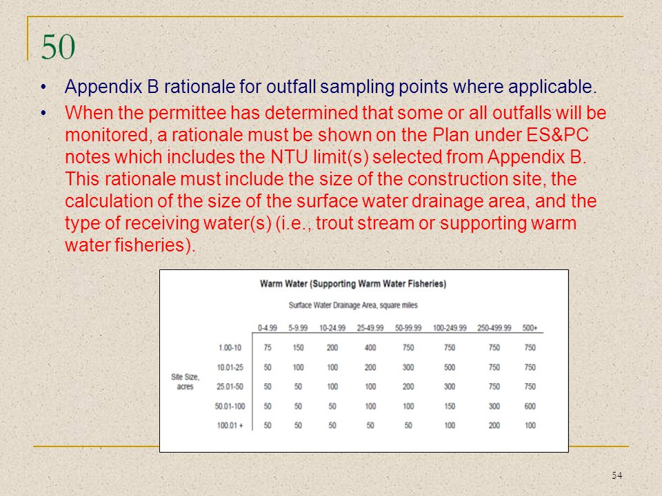 50 Appendix B rationale for outfall sampling points where applicable.
