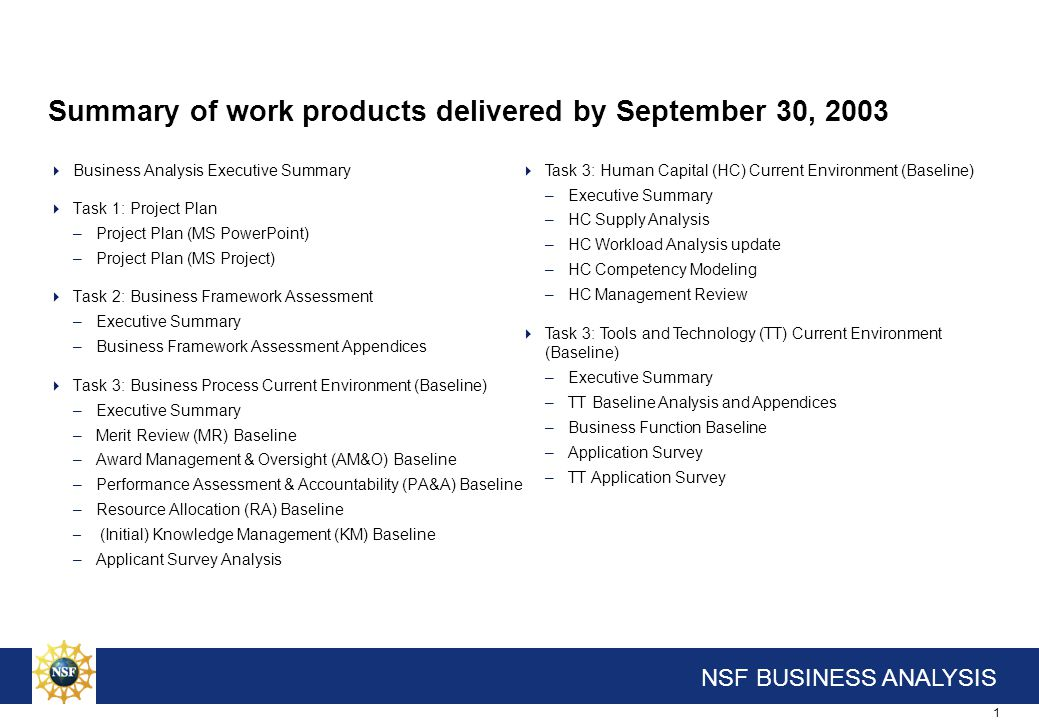 Appendix Summary Products Delivered On September 30, 2003