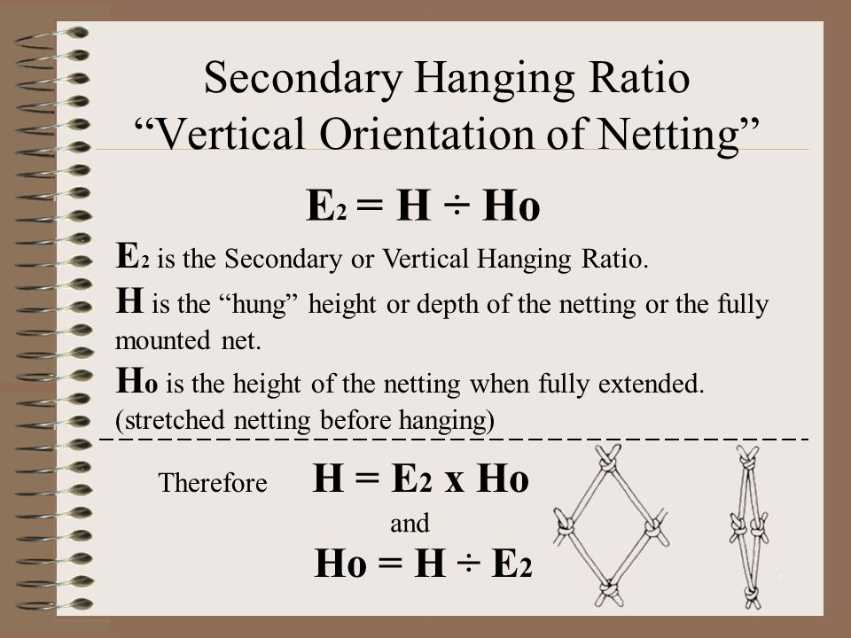 Secondary Hanging Ratio Vertical Orientation of Netting