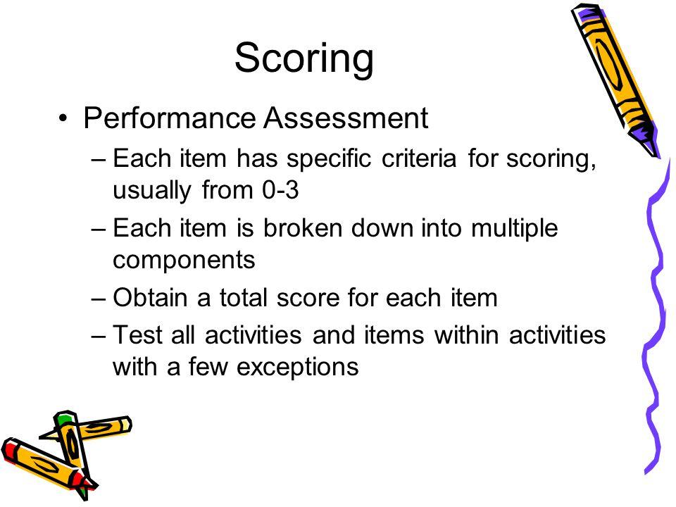 Scoring Performance Assessment