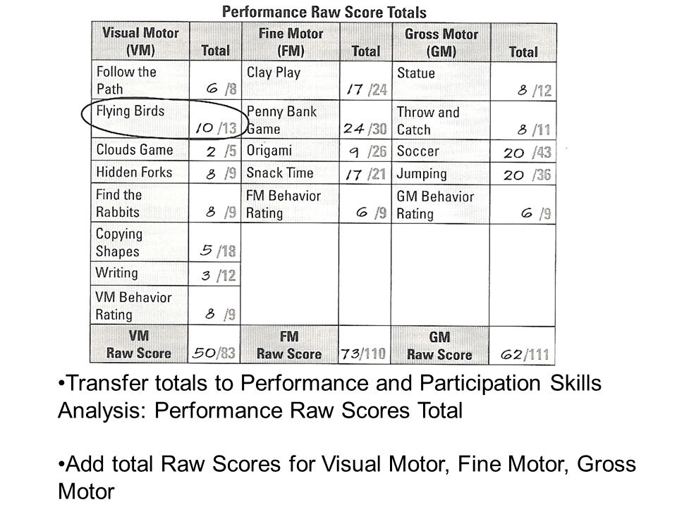 Transfer totals to Performance and Participation Skills Analysis: Performance Raw Scores Total