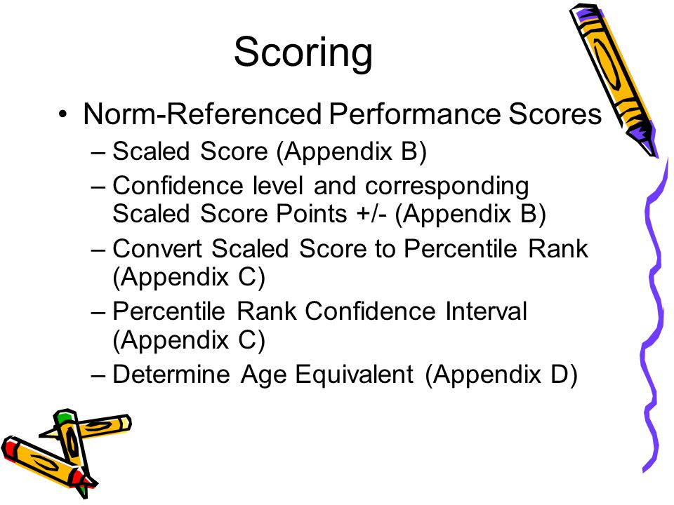 Scoring Norm-Referenced Performance Scores Scaled Score (Appendix B)