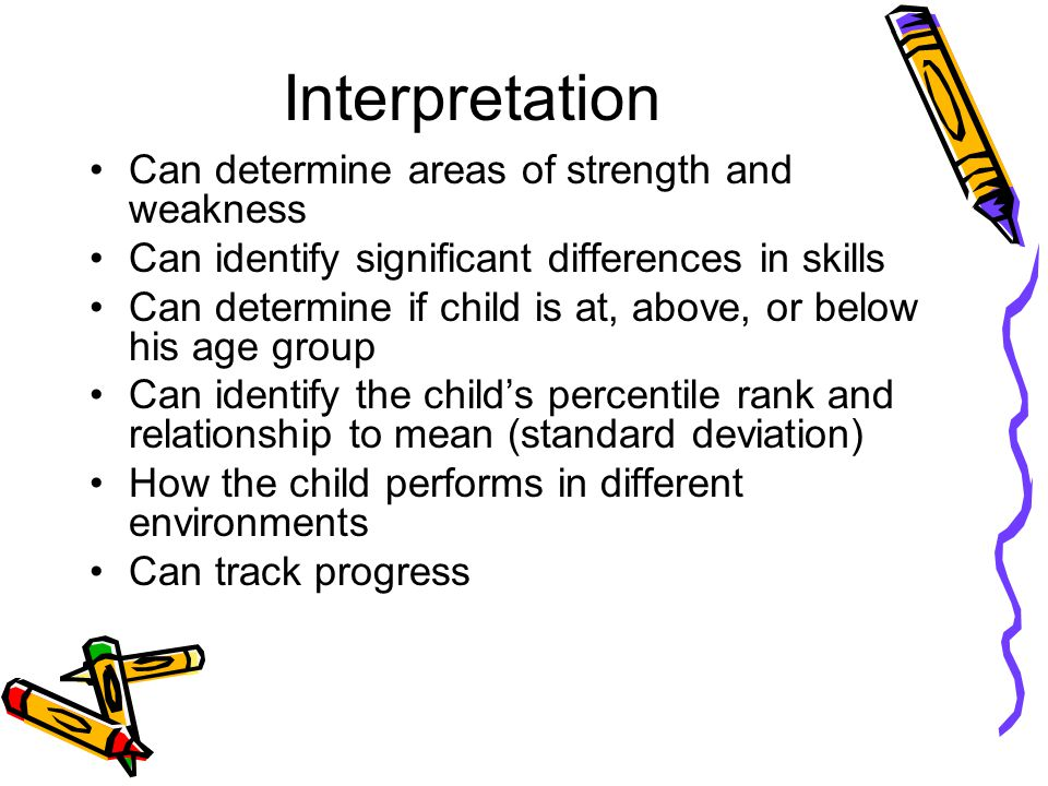 Interpretation Can determine areas of strength and weakness