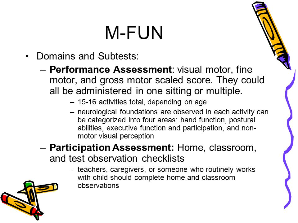 M-FUN Domains and Subtests: