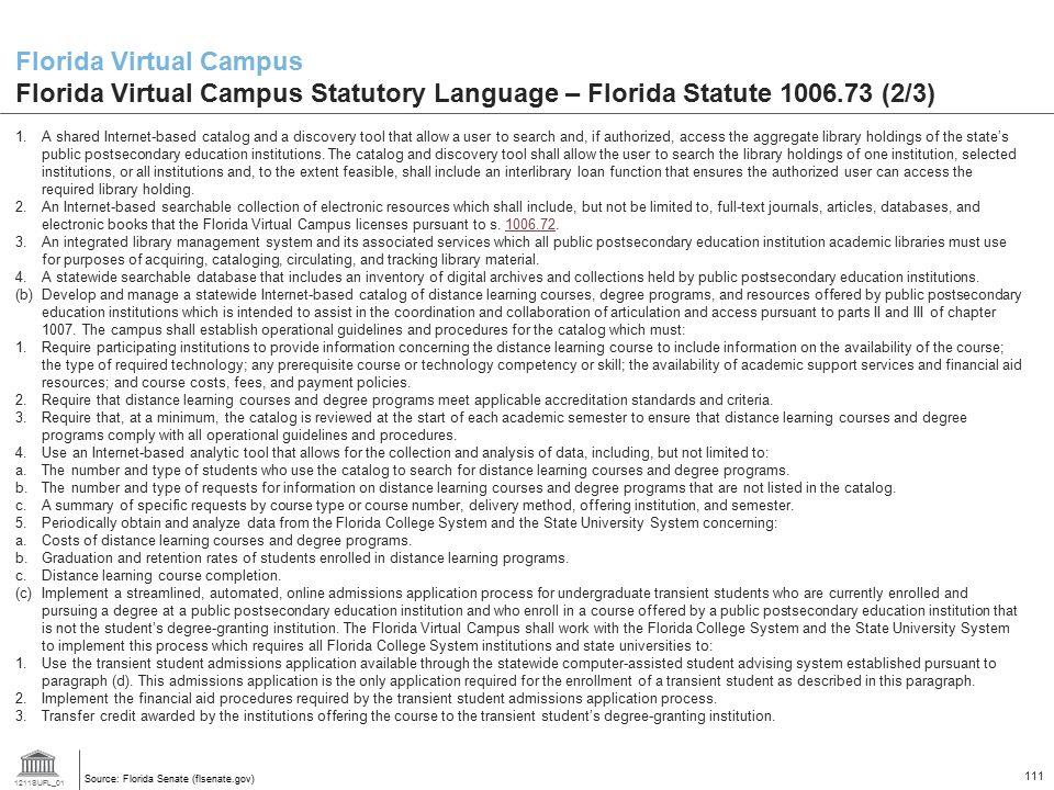 Florida Virtual Campus Florida Virtual Campus Statutory Language – Florida Statute 1006.73 (2/3)