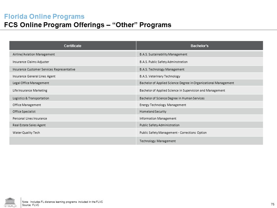Florida Online Programs FCS Online Program Offerings – Other Programs
