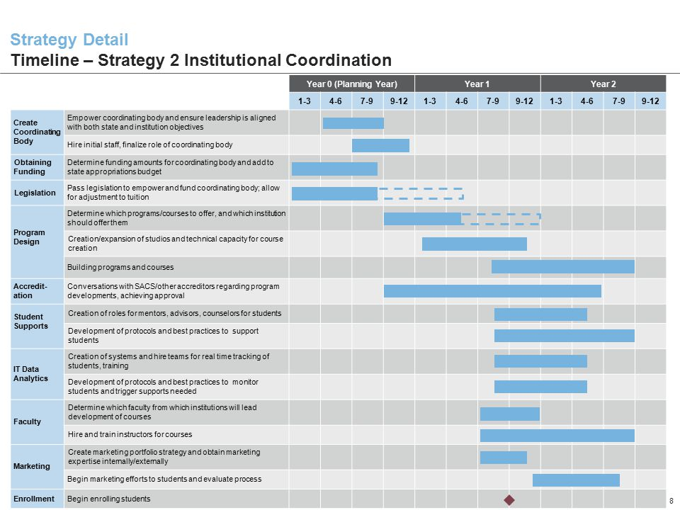 Strategy Detail Timeline – Strategy 2 Institutional Coordination