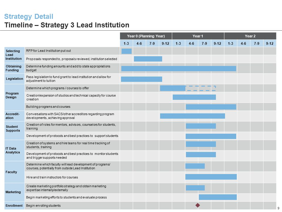 Strategy Detail Timeline – Strategy 3 Lead Institution