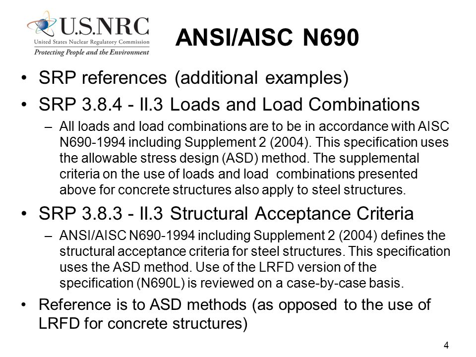 ANSI/AISC N690 SRP references (additional examples)