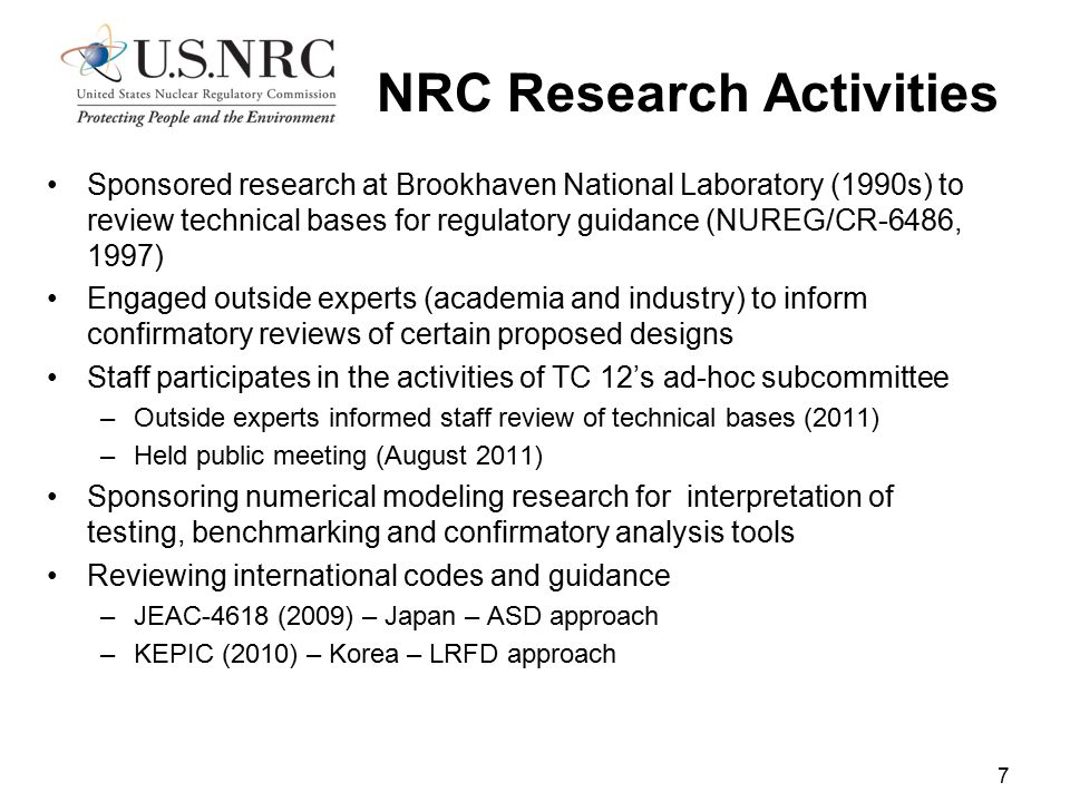 NRC Research Activities