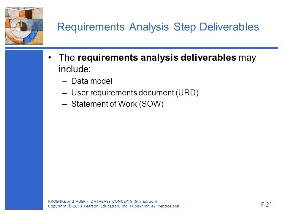 Requirements Analysis Step Deliverables