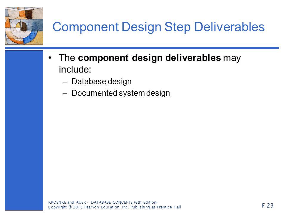 Component Design Step Deliverables