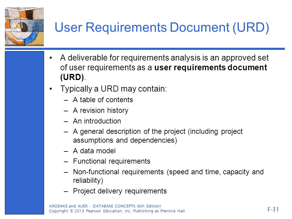 User Requirements Document (URD)