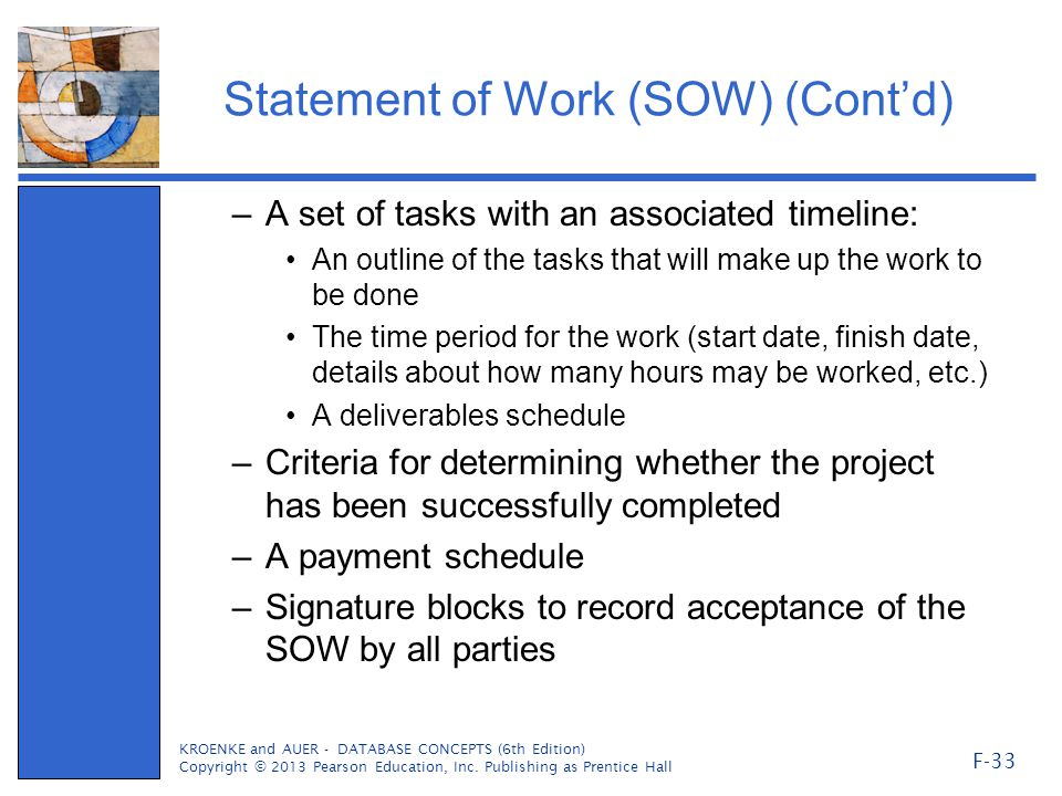 Statement of Work (SOW) (Cont'd)