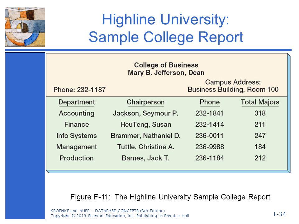 Highline University: Sample College Report