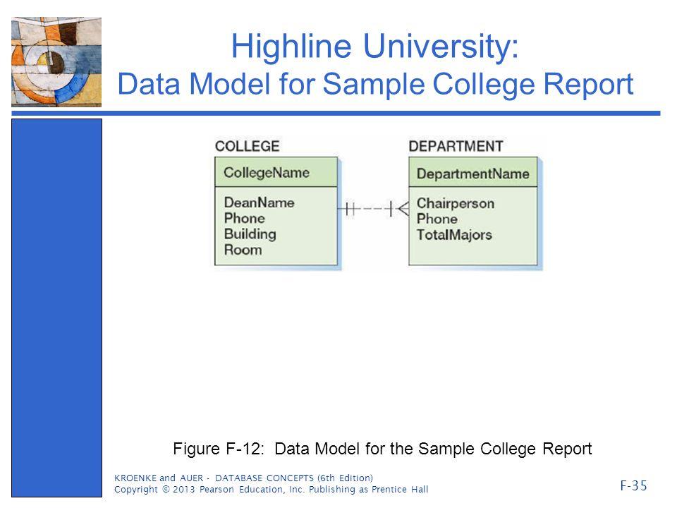 Highline University: Data Model for Sample College Report