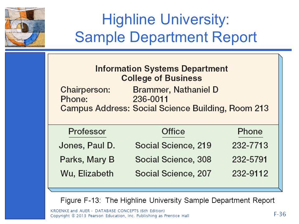 Highline University: Sample Department Report