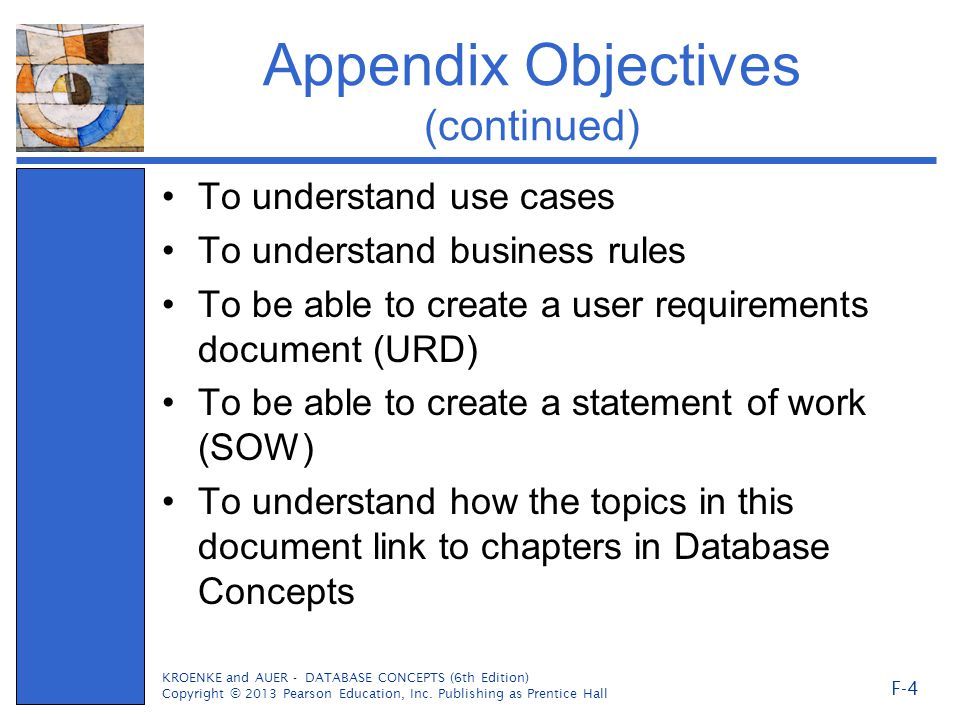 Appendix Objectives (continued)