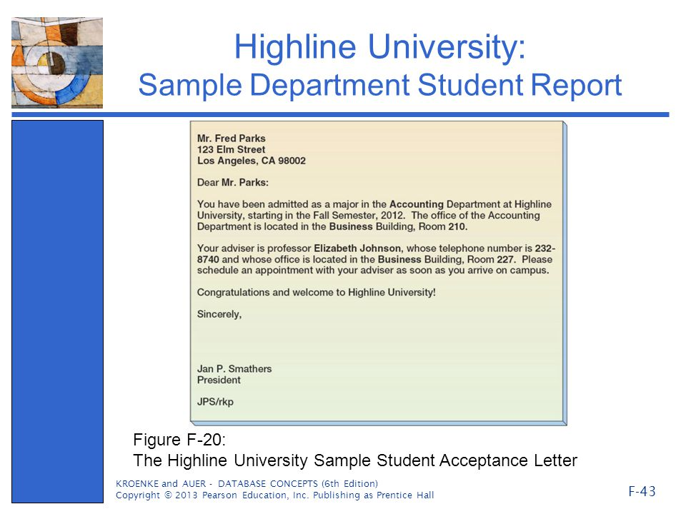 Highline University: Sample Department Student Report