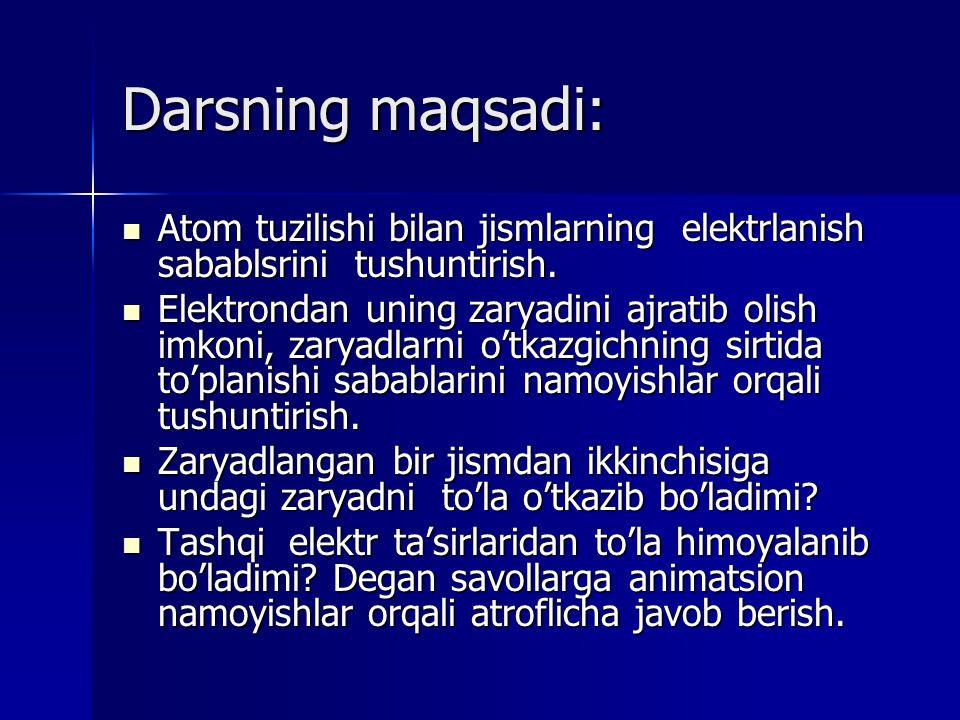 Darsning maqsadi: Atom tuzilishi bilan jismlarning elektrlanish sabablsrini tushuntirish.