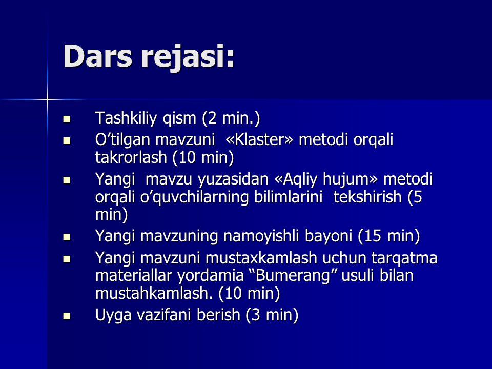 Dаrs rеjаsi: Tаshkiliy qism (2 min.)