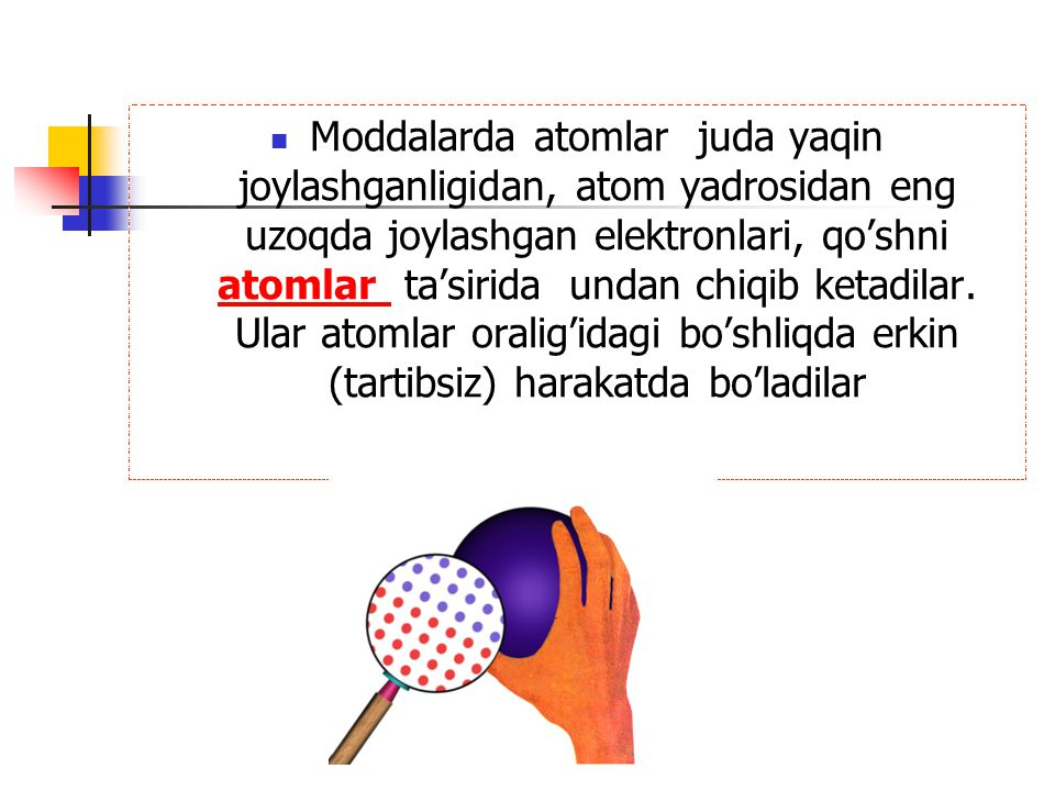 Moddalarda atomlar juda yaqin joylashganligidan, atom yadrosidan eng uzoqda joylashgan elektronlari, qo'shni atomlar ta'sirida undan chiqib ketadilar.