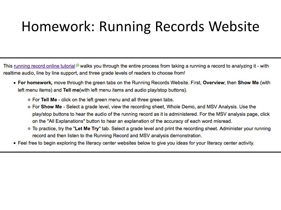 Homework: Running Records Website