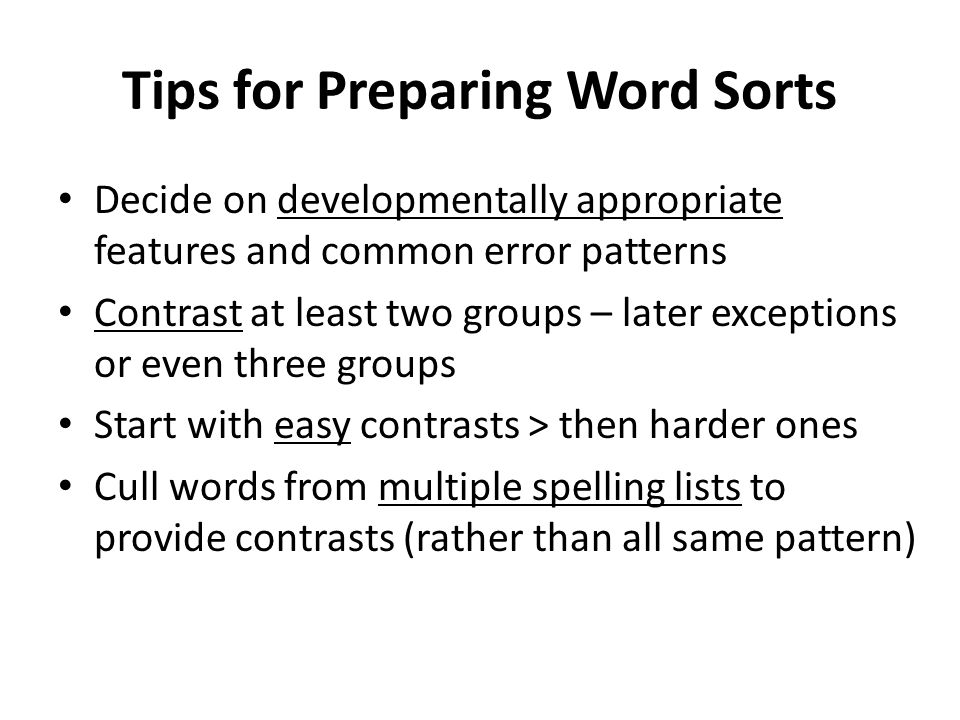 Tips for Preparing Word Sorts