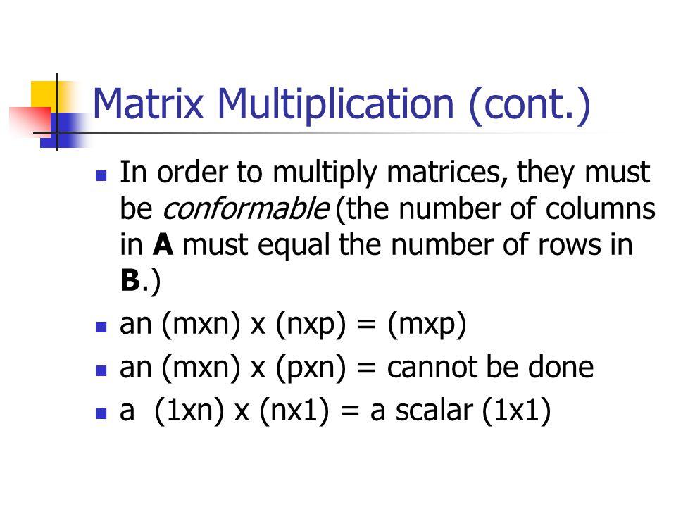 Matrix Multiplication (cont.)