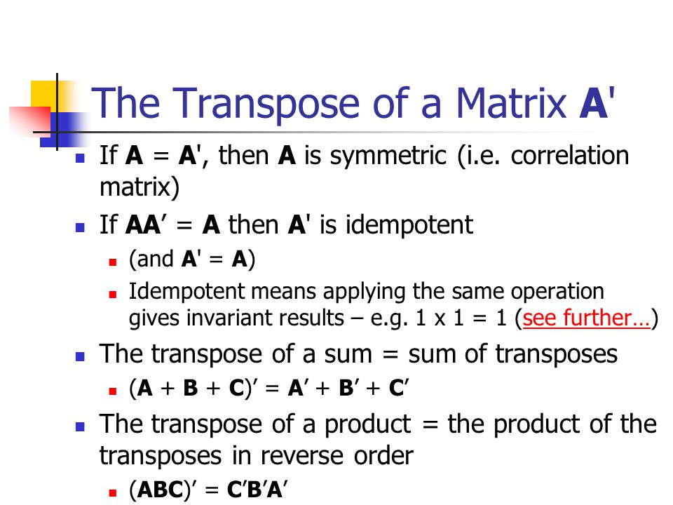 The Transpose of a Matrix A