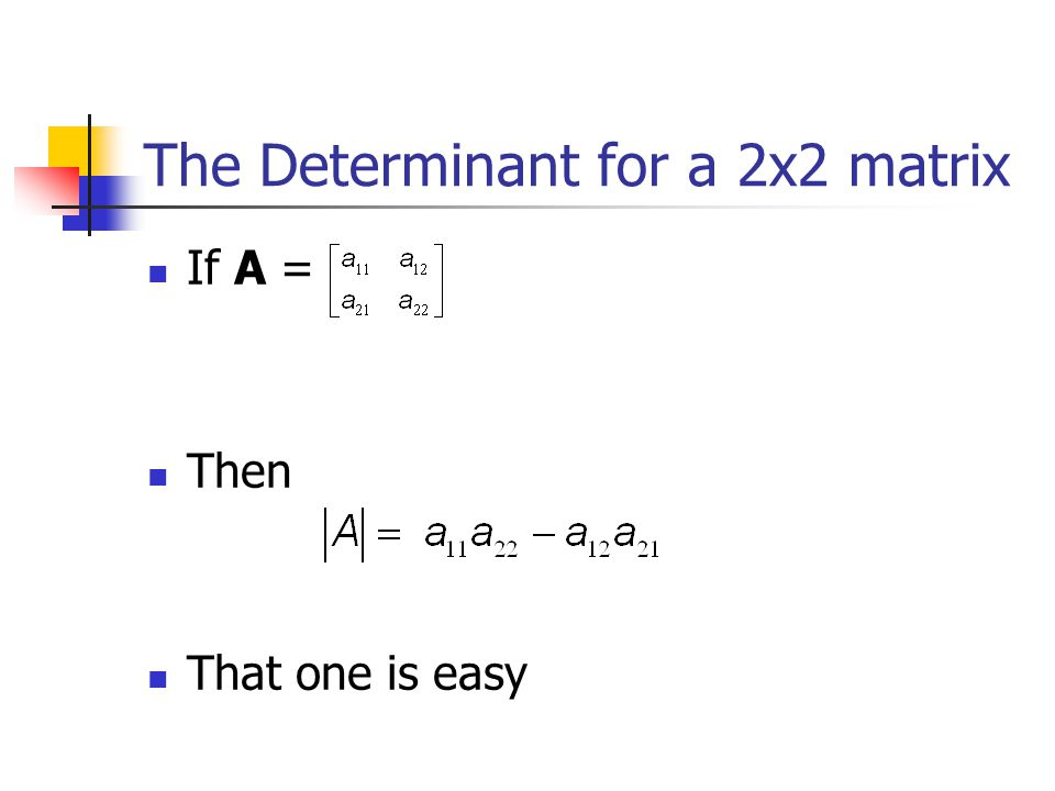 The Determinant for a 2x2 matrix