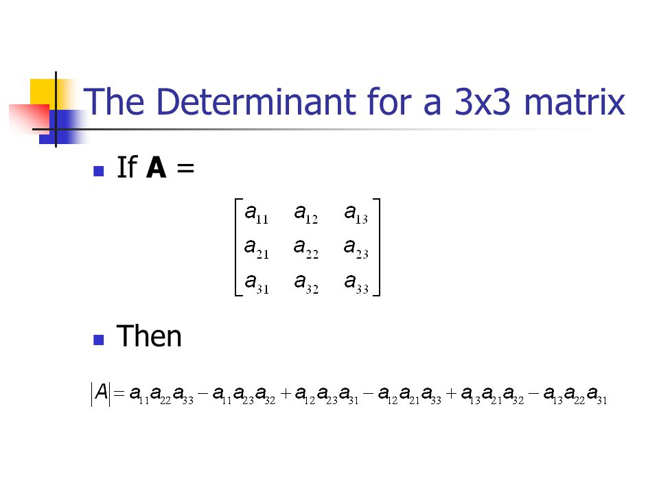 The Determinant for a 3x3 matrix