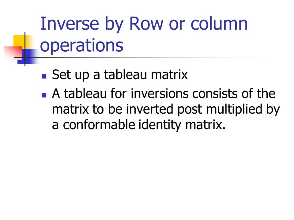 Inverse by Row or column operations